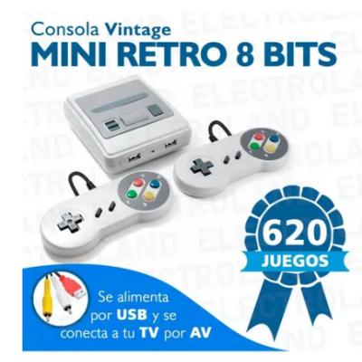 Consola portatil con juegos Family 620 juegos Retro Usb + Juegos + 2 Controles