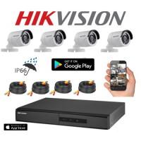 Kit Seguridad Hikvision Full Hd Dvr 4 + 4 Camaras Infrarrojas Bullet Exterior O Domo Interior