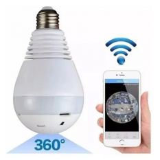 Cámara Lámpara Wifi Led Ip Hd 360° Ojo Pez Espia Graba