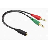 Adaptador Mini Plug 3.5 Audio a Auricular Y Micrófono